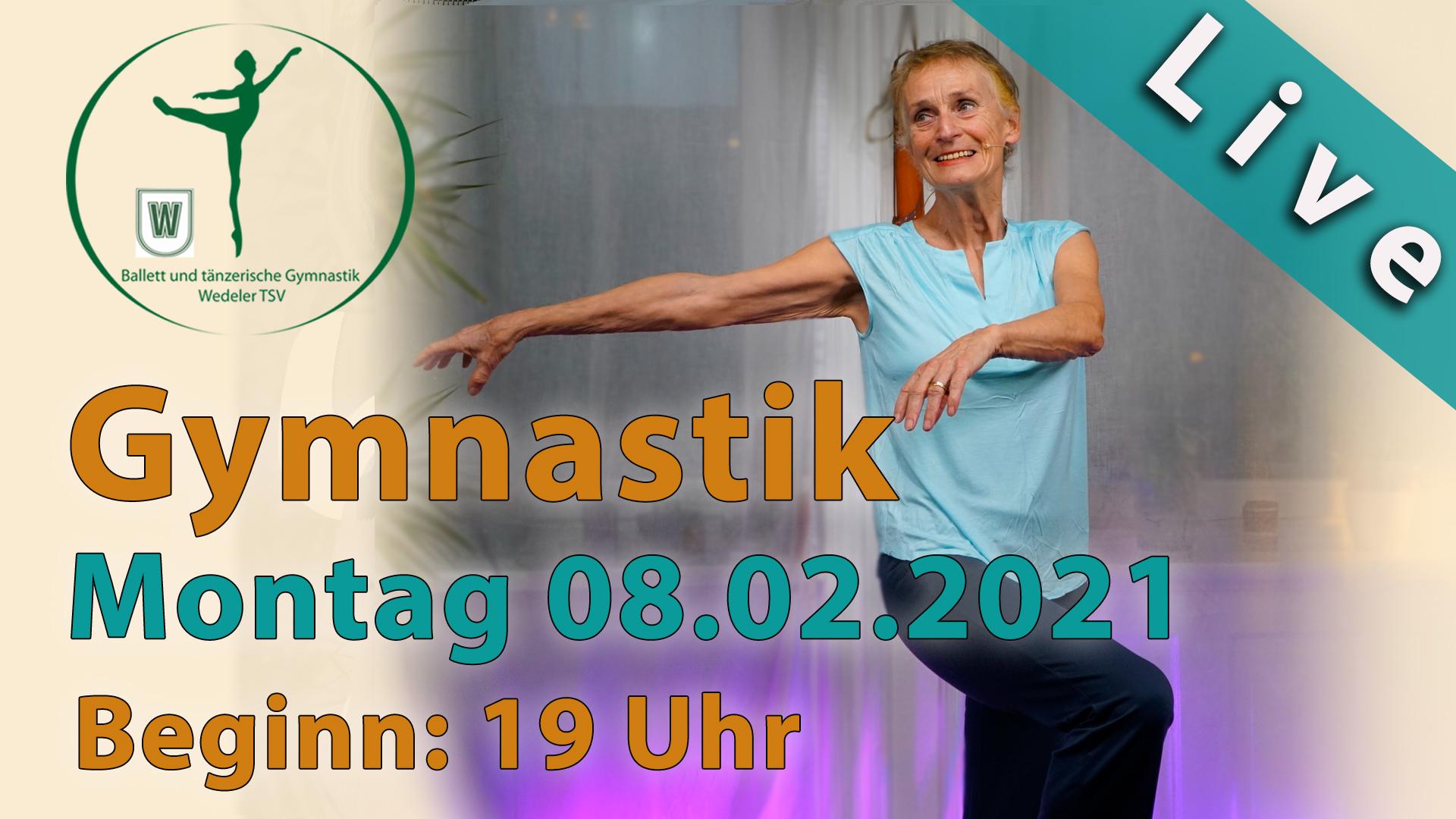 Gymnastik Livestream | Montag 08.02.2021 | Beginn: 19 Uhr